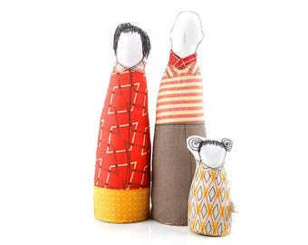 Family portrait , Toy Home Decor , Family set , Couple dolls  , girl doll , Fabric Ornament dolls  , figure doll family , look alike dolls