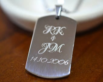 Personalized Dog Tag Necklace, Anniversary Gift for Men, Steel Dog Tag, Customised Stainless Steel Pendant, Engraved Boyfriend Gift for Him