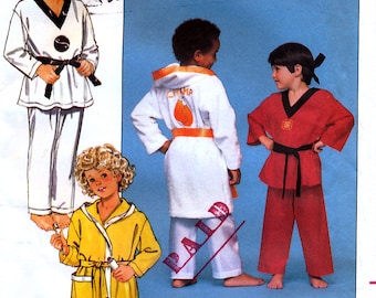 Butterick 5857 Sewing Pattern for Children's Karate Robe, Belt and Pajamas - Uncut - Size 4, 5, 6