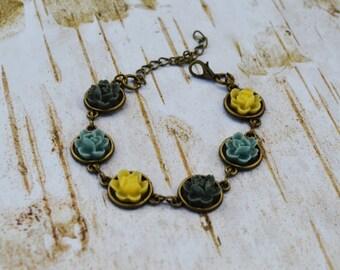 SALE - Yellow Gray Flower Bracelet, Vintage Style Bracelet, Gift For Her