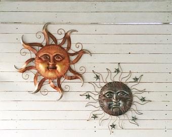 Metal Sun Wall Decor, Dark Bronze Decor, Decorative Sun and Stars, Nautical Wall Art, Texas Star, Garden, Patio ,Yard Art , Large Metal Wall