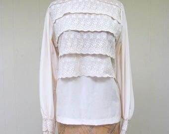 Vintage 1980s Blouse / 80s Ivory Silk Lace Victorian Steampunk Blouse / Size 6