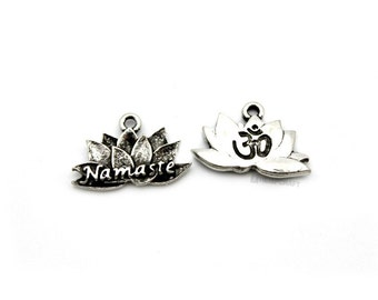 Lotus Flower Charms, 2pc Silver Pewter, 21x13mm