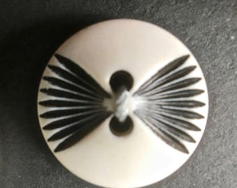 12 Vintage White Buttons with Carved Black Accents for Sewing and Crafts