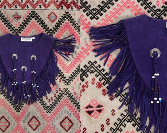 Vintage 1980's Purple Leather Slip On Vest/ Top With Fringe and Bead Work Women's One Size Country Western/Rocker/Hip Made in the USA