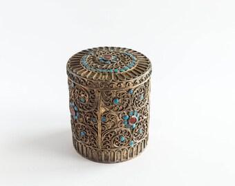 Vintage Brass Metal Box Turquoise Red Glass Stones India Ornate Boho Bohemian Decor Stash Jewelry Trinket