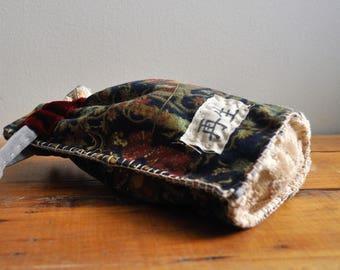 Upcycled Boho Bag/Japanese Boro Bag/Kanji Drawstring/Potli Bag/Holidays