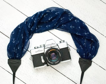 Scarf Camera Strap - Camera Straps - Camera Accessories - DSLR Camera Strap - Nautical Gift - Canon - Photographer Gift - Blue Anchors Scarf