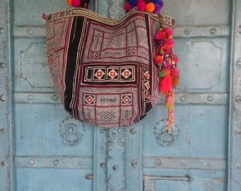 Vintage Hmong Batik Fabric tote bag beaded charm