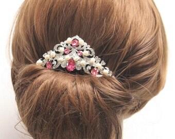 Rose Crystal Bridal comb,Wedding hair accessories,Pearl hair clip,Wedding hair clip,Bridal headpiece,Wedding hair comb,Bridal hair jewelery