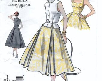 Vogue 2561 Women's Top Belt & Dress Reprinted 50s Sewing Pattern Size 6, 8, 10. Bust 30 1/2, 31 1/2, 32