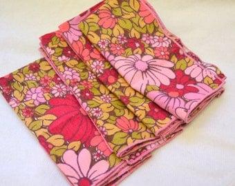 1970s Pink Floral Napkins, Set of 4