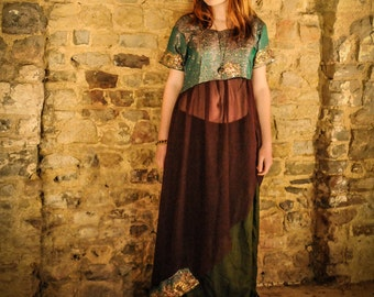 Bohemian embellished and sheer dress, brocade green and dark red boho tunic, gypsy pirate costume, stunning beading, silk & chiffon