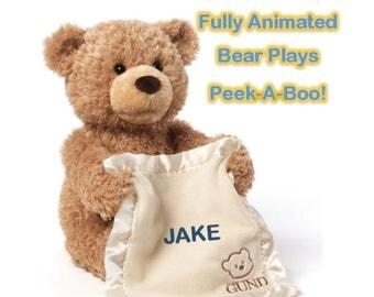 Personanlized Interactive Gund Peek-A-Boo Bear