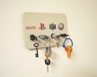 Video Game Plug Key Chain Holder Organizer Nintendo Nes, Playstation, Nintendo 64, and Xbox