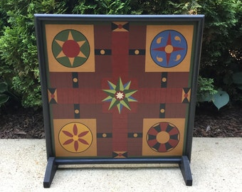 "19"", Parcheesi, Game Board, Game Boards, Wood, Folk Art, Hand Painted, Primitive, Board Game"