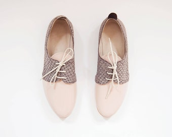 The Oxford Shoes | Pastel Leather Flat Shoes | Nude Patent Leather with Grey Print ... Limited Edition ... Luna II