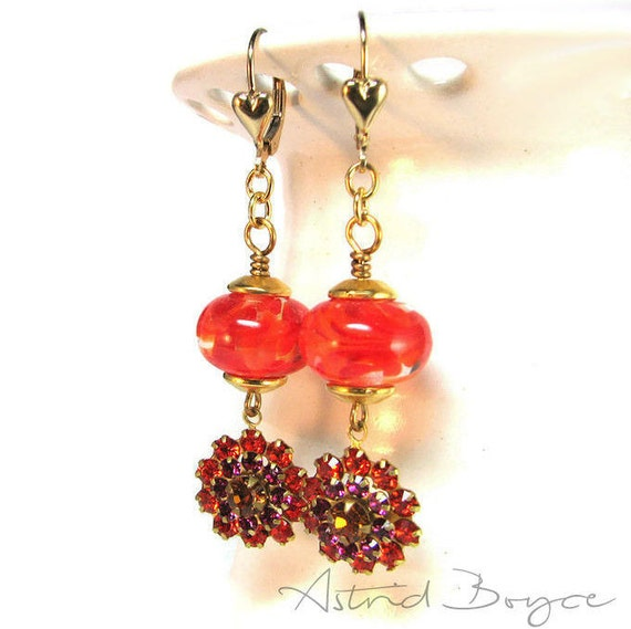 Red Hot Flowers Earrings- Ready to Ship - Lampwork Glass and Vintage Flower Charms  - Red Pantone Flame Pantone Pink Yarrow Pantone Primrose
