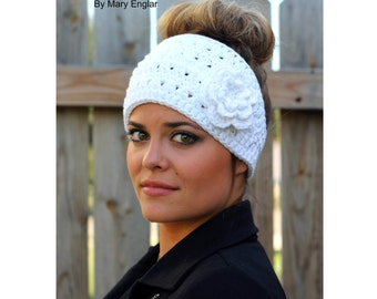 CROCHET PATTERN - Boho Flower Headband Crochet Pattern- Crocheted Ear Warmer- Instant Download- PDF