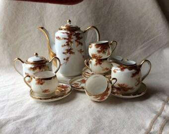 MidCentury Japanese Porcelain Coffee Set - MidCentury Glam - Porcelain Set - Japanese Maple Design
