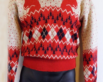 1940's Catalina Picture Sweater / Jacquard knit/ Christmas Rheindeer/Deer / Stag / Ski Sweater/ Rockabilly / Hollywood / M