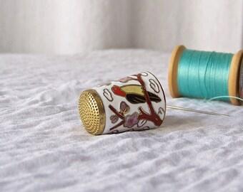 Vintage Cloisonne Thimble Brass Enamel Birds Sewing Room Thimble Collector 1980s