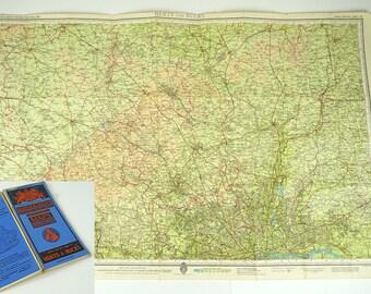 Map of Herts and Bucks  - Vintage Hertfordshire & Buckinghamshire Map - Large Barthlomews Map