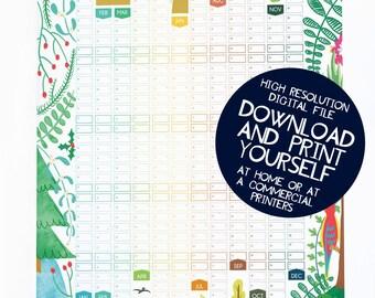 Printable 2017 Seasons Wall Planner Calendar Digital PDF file