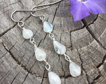 Rainbow Moonstone Teardrops . Long Earrings