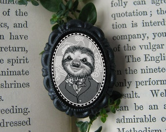 sloth pin - victorian style portrait