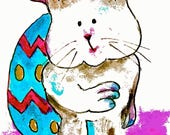 Easter Egg and Bunny-ACEO Print