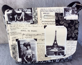 Messenger Bag Cross Body Bag Black and White Paris