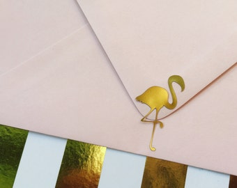 Gold Foil Flamingo Stickers Stationery Planner Agenda Envelope Seals