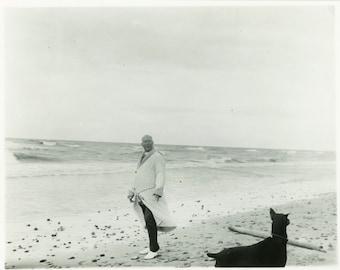"Vintage Photo ""Walking Along Silver Beach"" Snapshot Antique Photo Old Black & White Photograph Found Paper Ephemera Vernacular - 140"