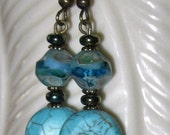 Czech Glass Earrings Beautiful Riviera Maya Picasso Bead, Turquoise-Howlite Lentil Coin, with Iris Green Disc  - I Love Blue