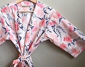 Pink Floral Kimono Robe. Pink Floral Kimono. Dressing Gown. Pink Floral Bridesmaid Robes. Suzanne's Garden Navy. Knee Length.