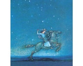Prince Rides Horse Under A Starry Sky - Fairy Tale Notecard - Fantasy Greeting Card - Repro John Bauer