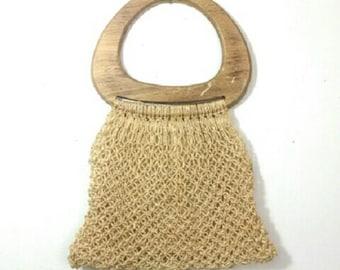 Bohemian Macrame Vintage Bag Wood Handle