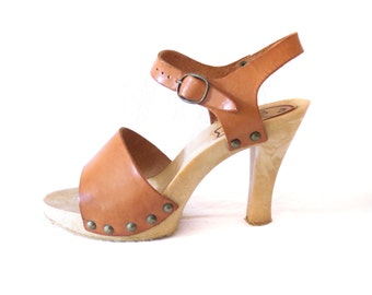 1970s High Heel Mules, Size 39