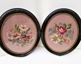 Vintage Needlepoint Art, Petit Point, Needlepoint Framed, Oval Wood Frames – Set of 2