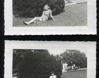 two vintage 1940's photographs of girls on lawn
