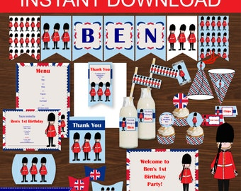 London Party, Queens Guard Party DIY Printable Kit - INSTANT DOWNLOAD