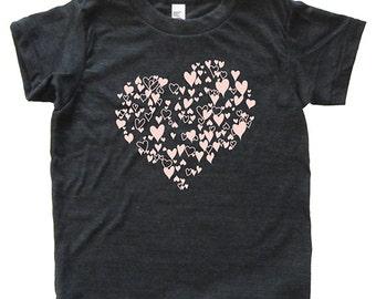 Hearts Girls Shirt - Kids Valentine Tshirt - Tee - Youth Girl Shirt / Super Soft Sizes 2T 4T 6 8 10 12 - Great gift for girls