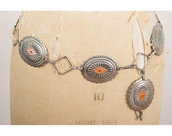 Vintage concho belt / Silver southwestern style link belt / Jim Morrison  S