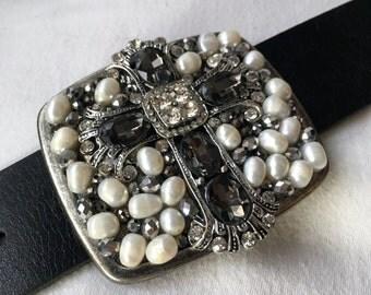 Gems & Pearls Cross Belt Buckle