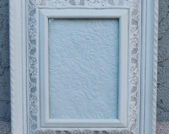 RESERVED 5 x 7 Picture Frame / White Picture Frames / Frame with Glass / Easel Back Frame / Vintage Picture Frame / Ornate Frame
