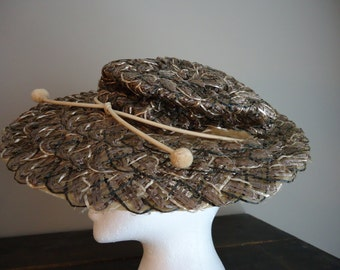 Vintage hat, Straw hat, French hat, Boho hat, Steampunk hat, Women's hat, Brown's and beige flat platter hat