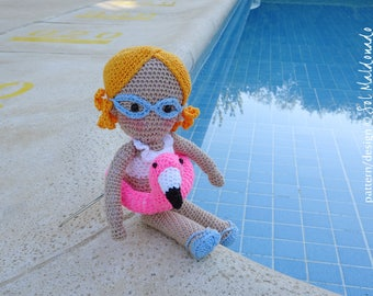 Crochet Doll Pattern - Aqua amigurumi Girl PDF - Instant Download