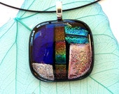 Fused glass necklace, dichroic pendant, dichro jewelry, handmade art glass jewellery, gift for her, colorful necklace, present for colleague