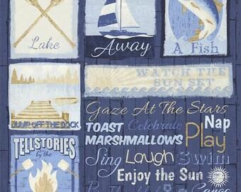 Timeless Treasures. Lake House Rules Panel - Cotton Fabric Panel - 2/3 yard panel